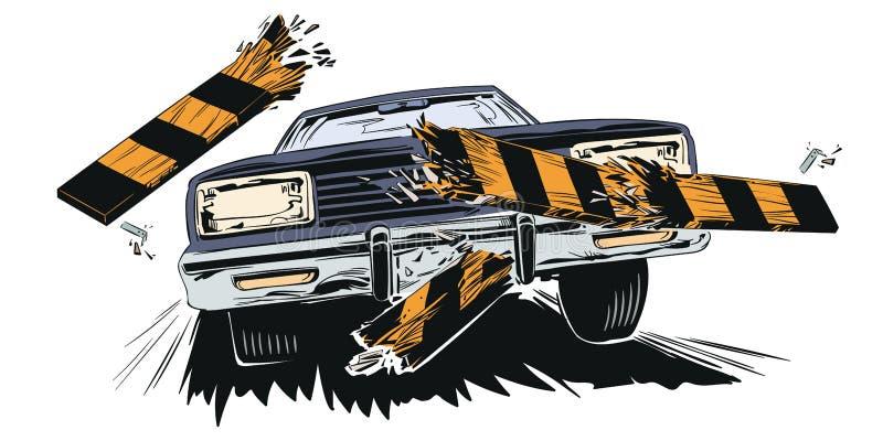 适应 冲破篱芭障碍的汽车 背景明亮的例证桔子股票 库存例证