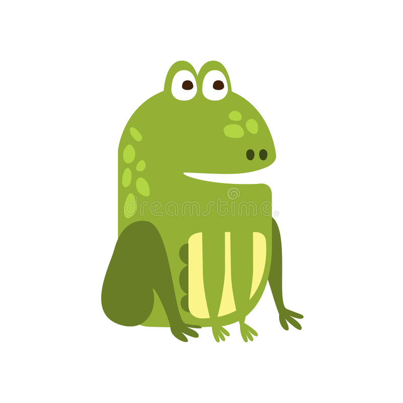 适当地坐平的动画片绿色友好的爬行动物动物人物素描的青蛙 皇族释放例证