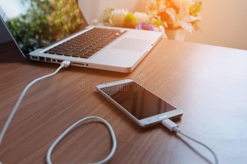 适配器便携式计算机电源线充电器在木的 免版税图库摄影