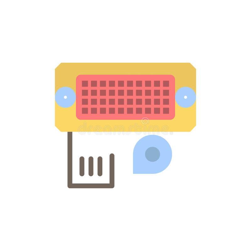 适配器,连接,数据,输入的平的颜色象 传染媒介象横幅模板 向量例证