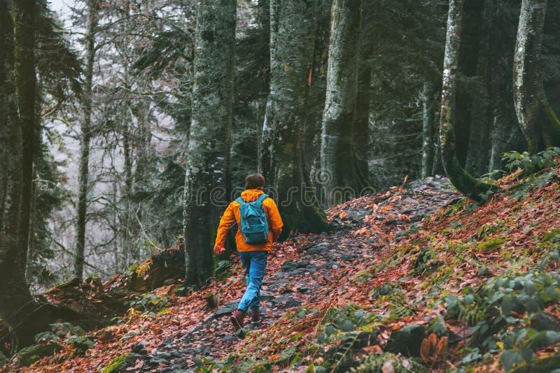 逃命到有单独运行在森林里的背包的极端分子里 库存照片