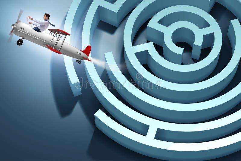 逃脱从在飞机的迷宫的商人 向量例证
