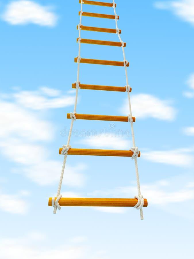 逃脱梯子楼梯到白色背景的天堂 库存例证