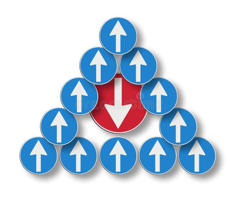 逆流的概念图象 红色箭头去反对 库存照片