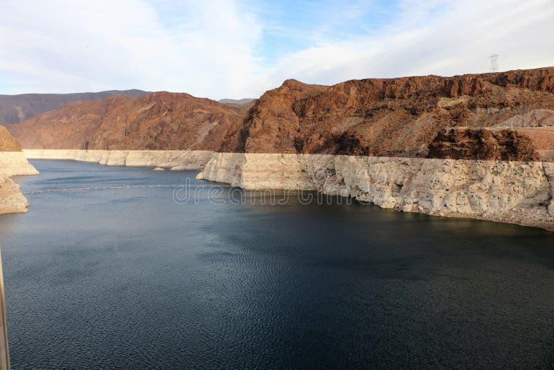 逆流胡佛水坝的科罗拉多河 库存图片