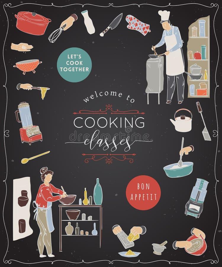 选件类烹调 设计与准备饭食、厨房器物和装置的人的模板 向量例证