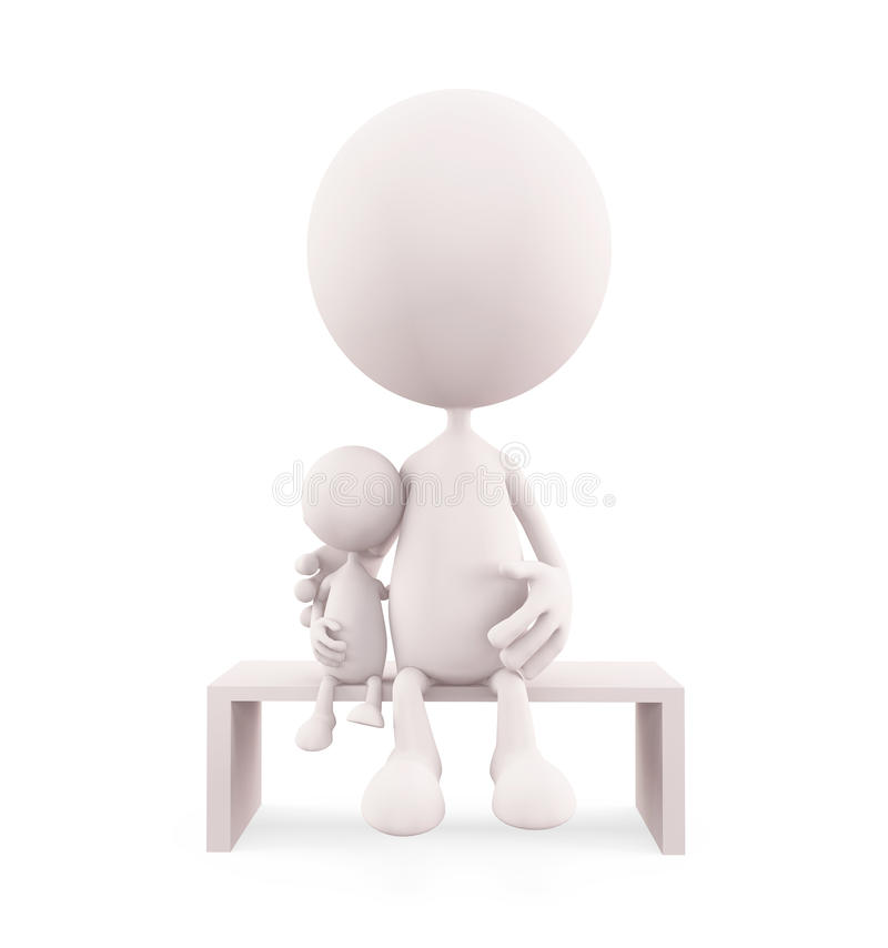 选址她的婴孩的白色字符 向量例证