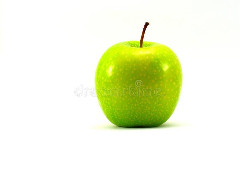 选拔在与全部的白色背景隔绝的新鲜和水多的豪华的绿色苹果正文消息的空间 免版税库存照片