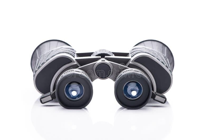选拔在白色背景隔绝黑双筒望远镜 库存图片