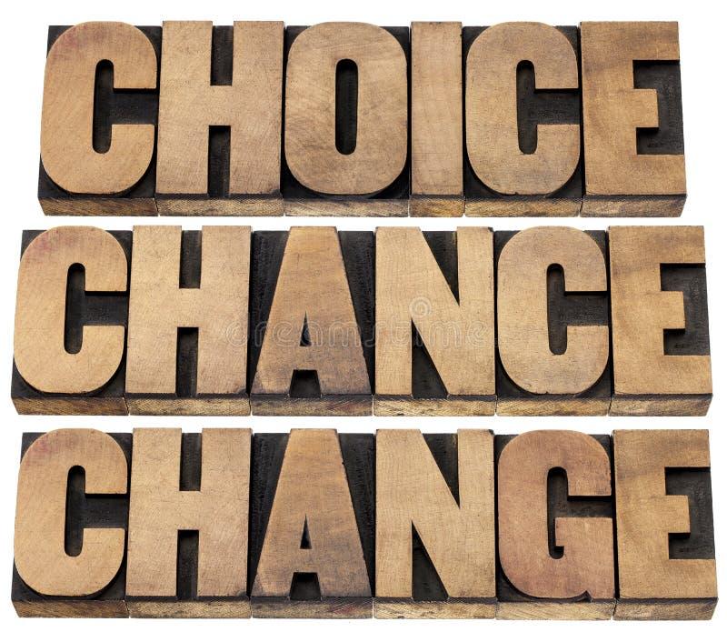 选择、机会和变动 库存图片