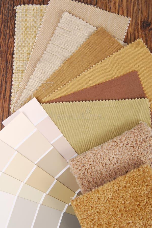 选择为内部的油漆和材料颜色 库存图片