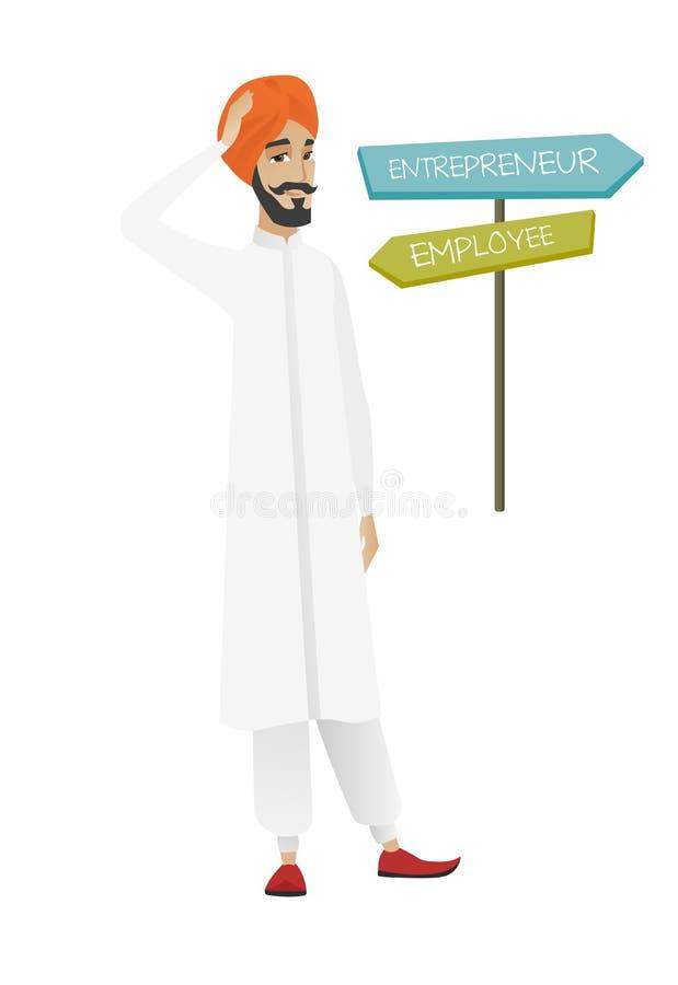 选择事业路的迷茫的印度人 库存例证