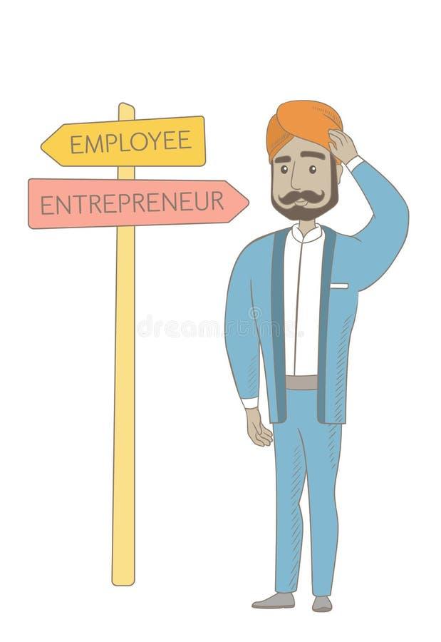 选择事业路的迷茫的印度人 向量例证