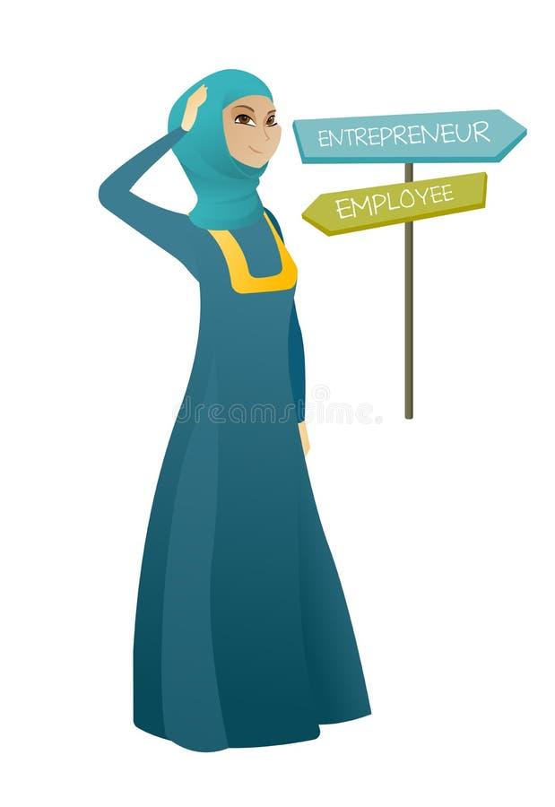 选择事业路的迷茫的回教妇女 皇族释放例证