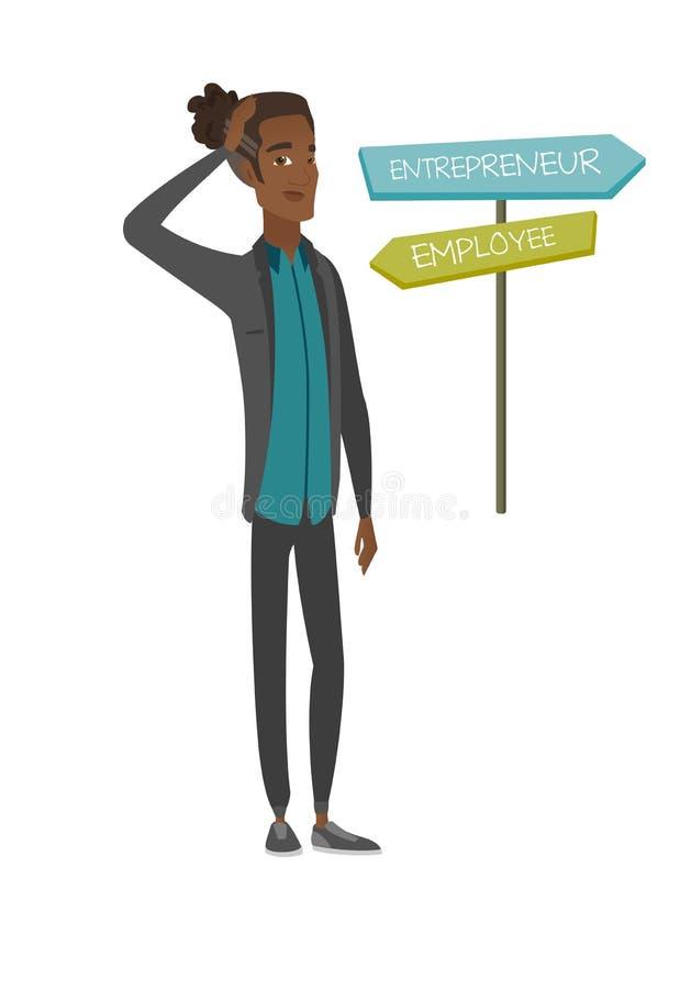 选择事业路的迷茫的非洲人 库存例证