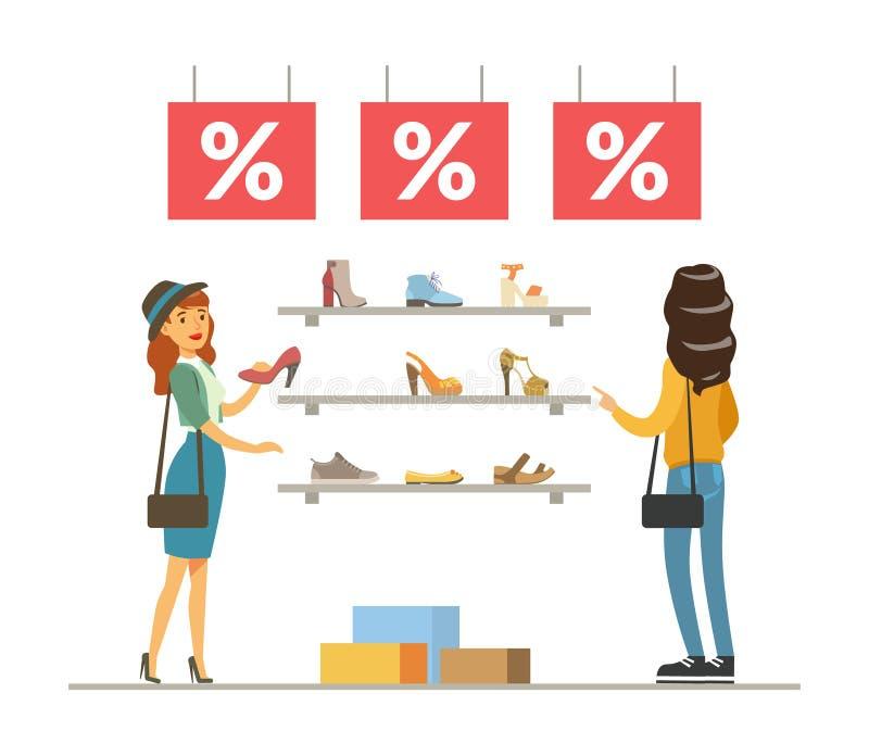 选择和买鞋子的妇女在商店,在购物中心传染媒介例证的女孩购物 向量例证
