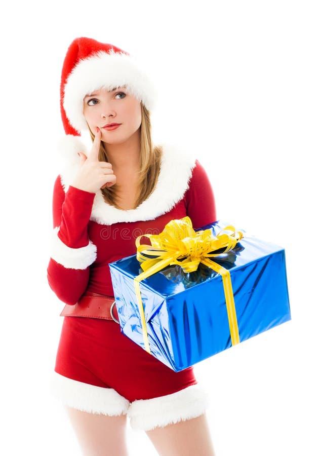选择圣诞节女孩相当存在得 免版税库存图片