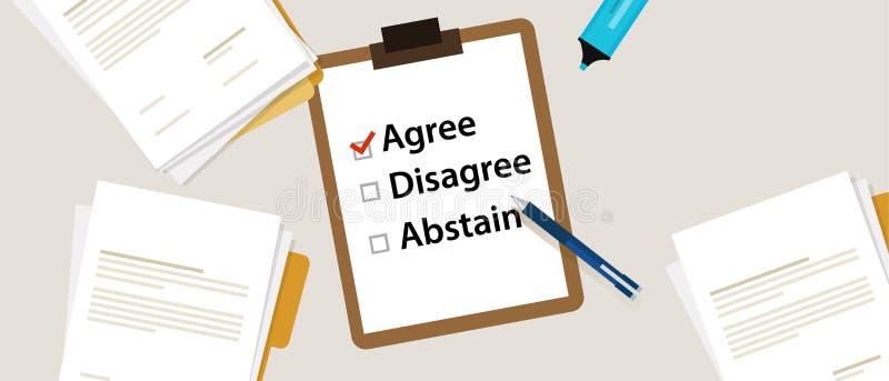 选择在勘测的Agree一个项目 投票的项目,不同意,戒对与校验标志的纸达成协议 库存例证