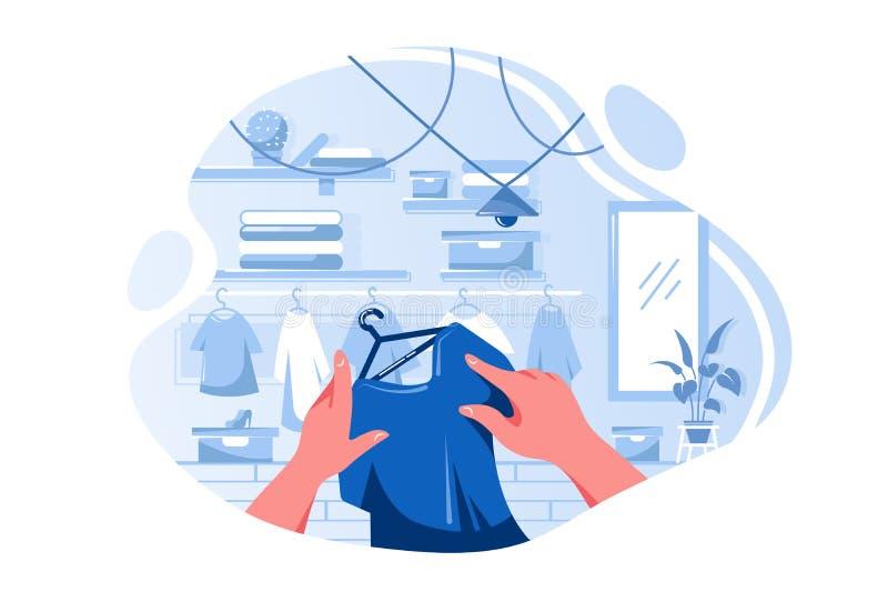 选择在服装店的平的男人或妇女手T恤杉 向量例证