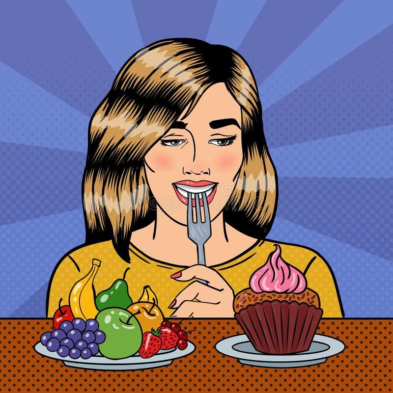 选择在果子和杯形蛋糕之间的美丽的妇女食物 流行艺术 向量例证