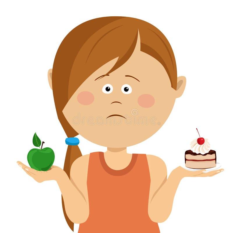 选择在苹果和甜点之间的逗人喜爱的矮小的不快乐的女孩,被隔绝在白色 库存例证