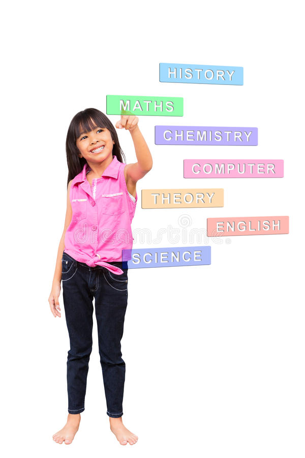选择女孩一点数学 免版税图库摄影