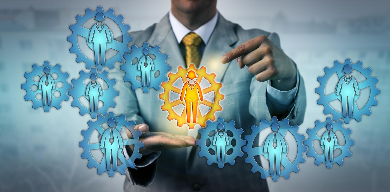 选择女性组员的操作管理员 向量例证