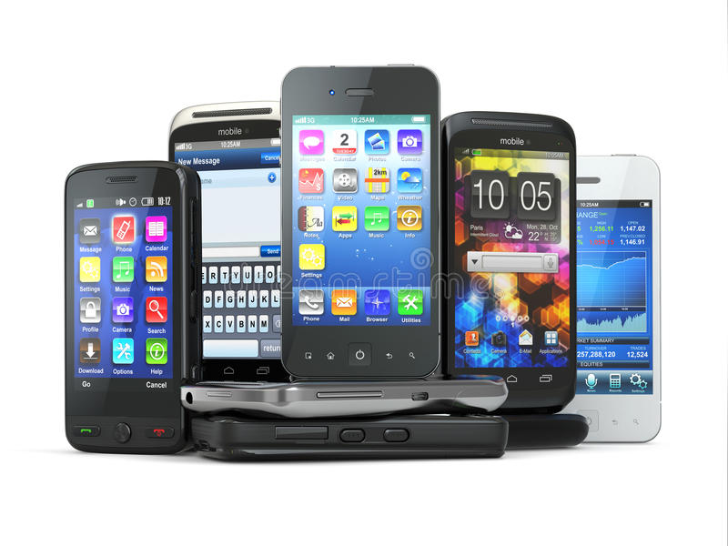选择手机。堆新的手机。