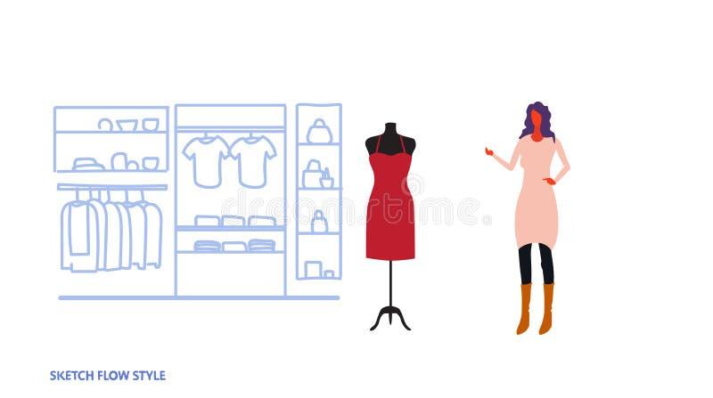 选择新的礼服端庄的妇女身分现代时尚商店女性衣裳市场购物中心内部的女实业家 向量例证