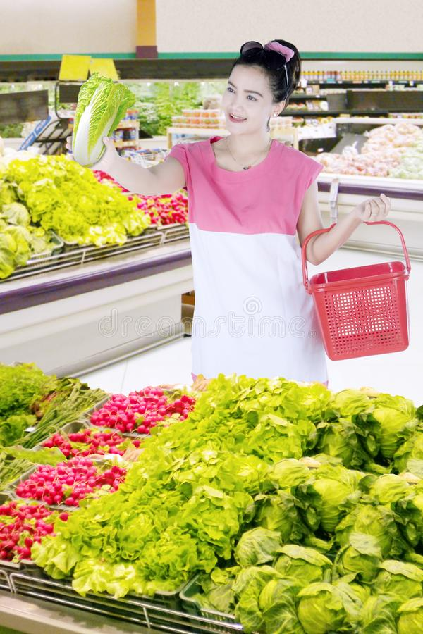 选择新鲜蔬菜的俏丽的妇女 库存图片