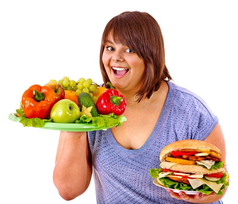 选择果子汉堡包妇女 库存照片
