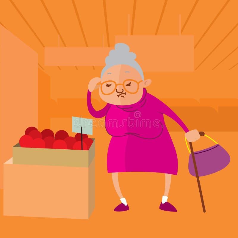 选择果子的资深妇女 皇族释放例证