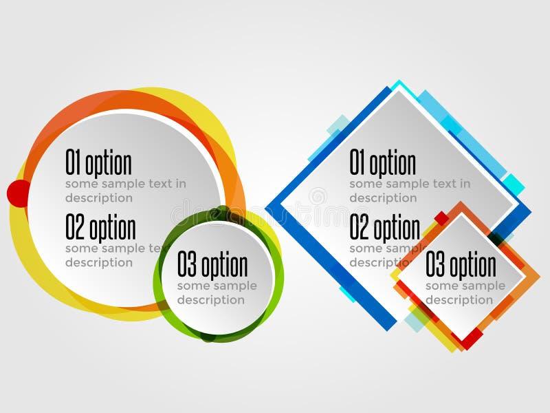 选择横幅或Infographics的圆的设计框架 皇族释放例证