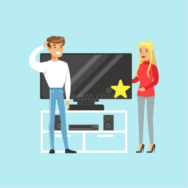 选择电视在电器商店五颜六色的传染媒介例证的售货员帮助下的年轻白肤金发的妇女 向量例证