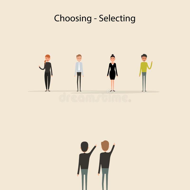 选择的买卖人&上司手漫画人物 Selectin 库存例证
