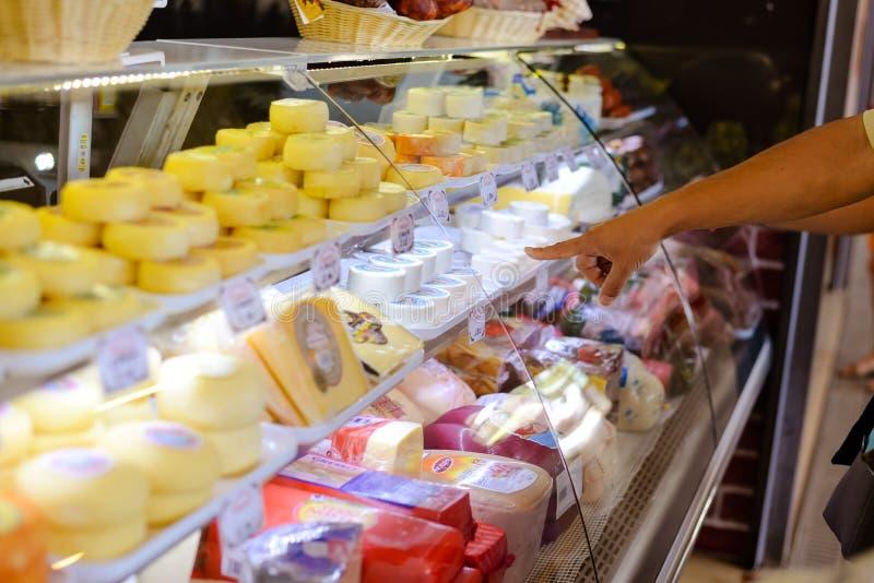 选择的另外食家乳酪在玻璃 库存图片