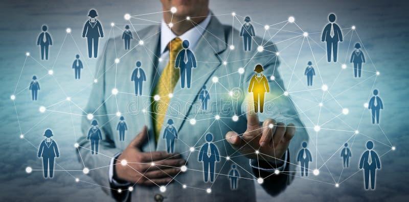 选择网络的执行委员女性顾客 免版税图库摄影