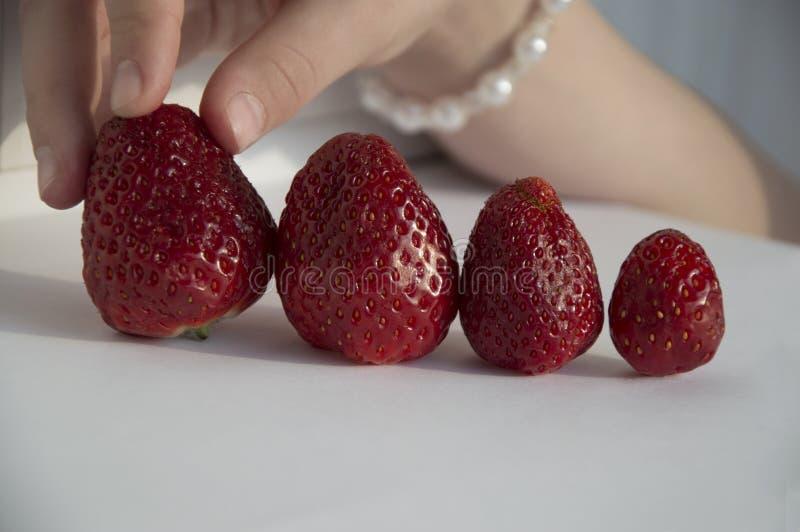 选择草莓的儿童手 免版税库存图片