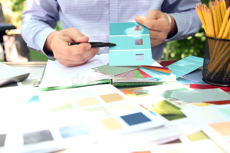 选择设计项目的经销处颜色样品 库存照片