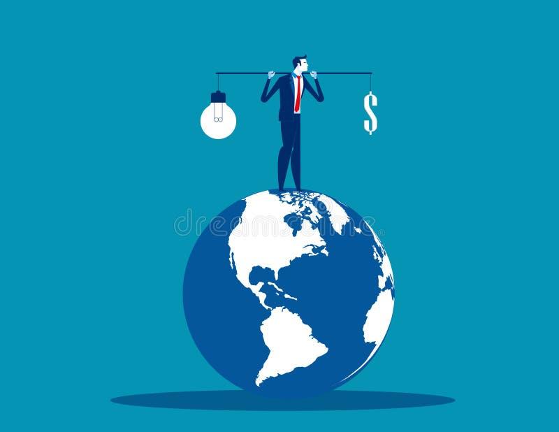 选择金钱或您的头脑 概念企业传染媒介例证,平的企业动画片设计,字体 皇族释放例证