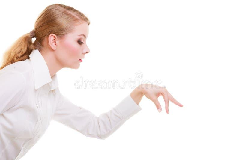 选择整理的女商人做被隔绝的deccision 图库摄影