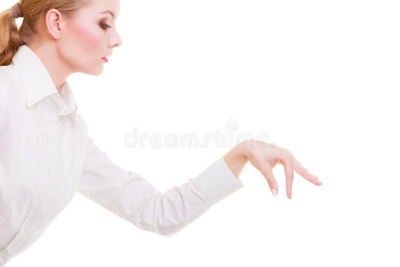 选择整理的女商人做被隔绝的deccision 库存图片