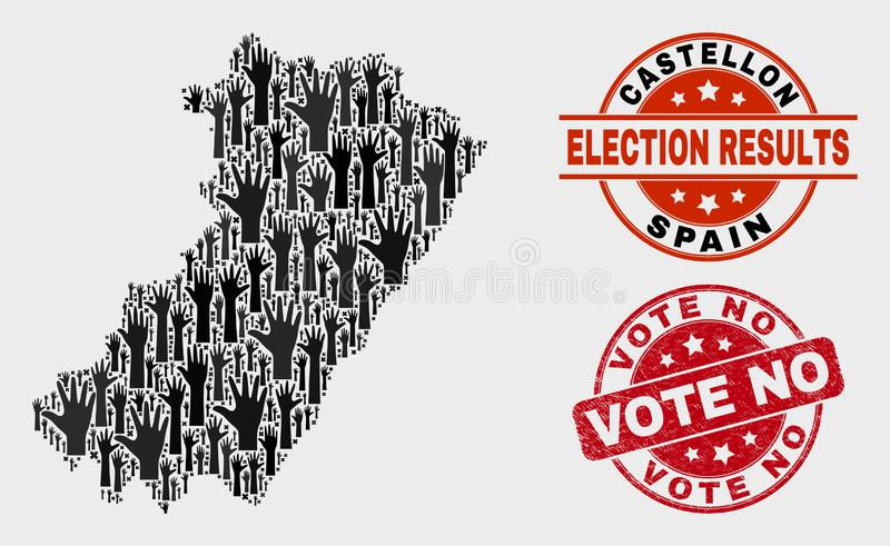 选票卡斯特利翁省省地图拼贴画和抓投反对票邮票封印 库存例证