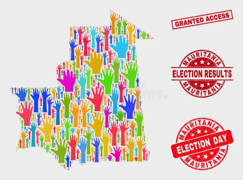 选票毛里塔尼亚地图和被抓的被授予的通入封印拼贴画  库存例证
