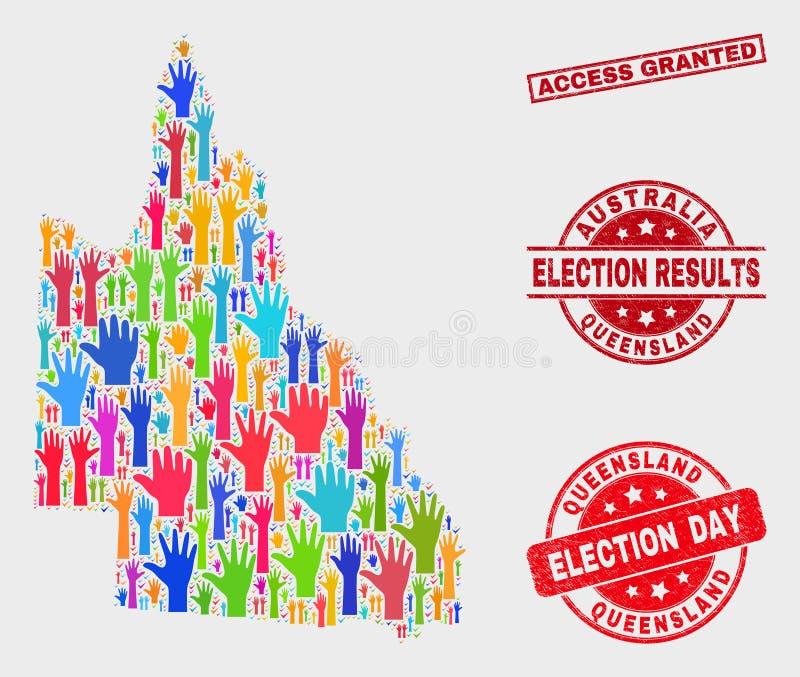 选票澳大利亚人昆士兰地图和难看的东西通入被授予的水印拼贴画  库存例证