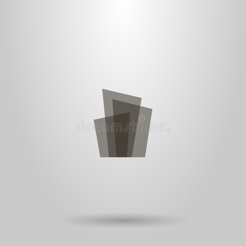 透亮长方形形状的传染媒介几何平的艺术抽象标志以高层建筑物的形式 库存例证