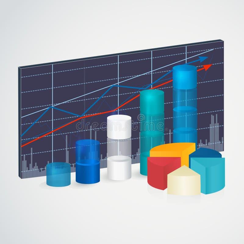 透明上升的图表 3D财政,逻辑分析方法、统计报告和网络设计的数字式Infographic 皇族释放例证