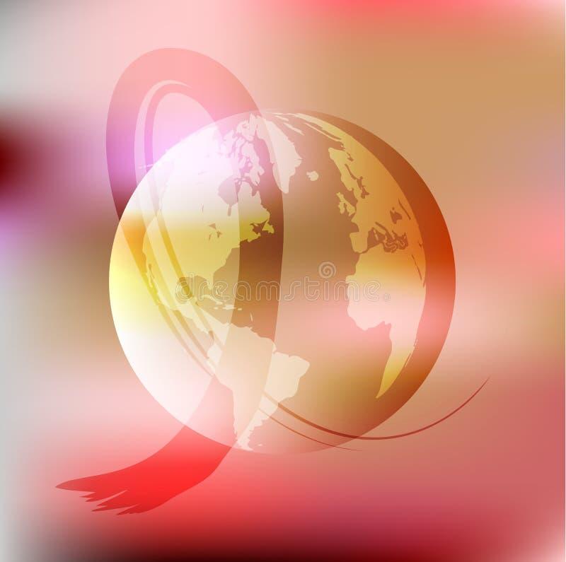 透明丝带和行星商标 皇族释放例证
