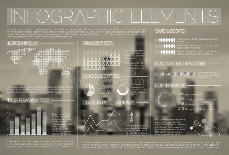 透明传染媒介套Infographic元素 库存例证