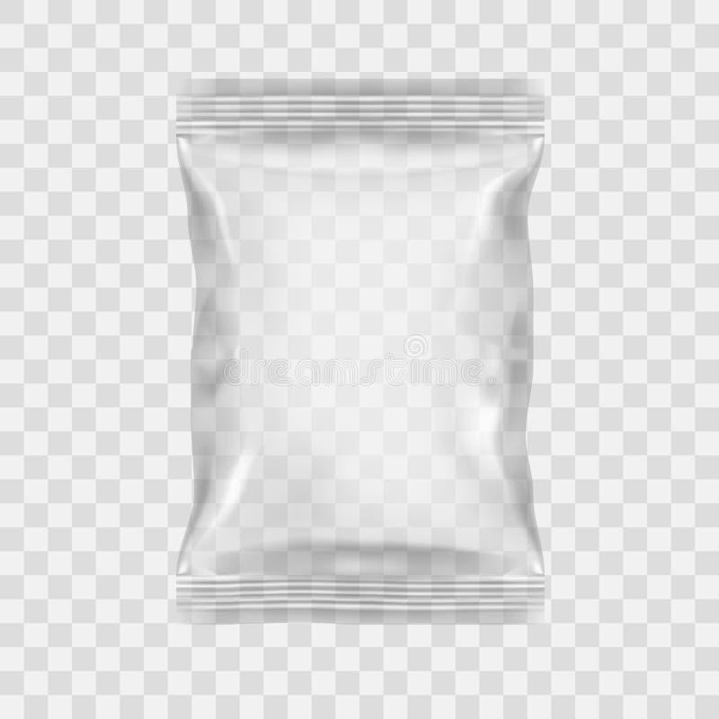 透明包装快餐、芯片、糖、香料,或者其他食物的 库存例证